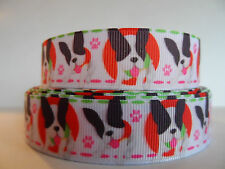 "Grosgrain Ribbon, Boston Terrier Doggies with Pink Paw Prints, 7/8"""