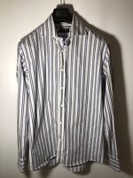 Canali Men's L (16 1/2) Dress Shirt -Blue Stripe-100% Cotton -Made in Italy