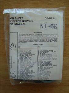 NEW NOS Carburetor Rebuild Kit 1981-82 Mazda 626 w/Nikki carb Royze NI-6K