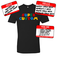 custom text, super mario world, snes, nintendo, mens, womens, youth, toddler