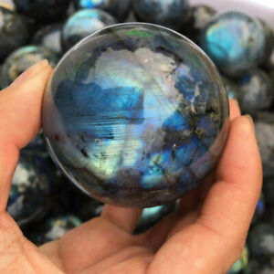 40-50mm Labradorite Sphere Natural Quartz Crystal Ball Healing Stone Gifts Decor