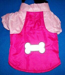 NEW (Choose Size) Pink Raspberry Nylon Snow Parka Reflective Bone Dog Coat