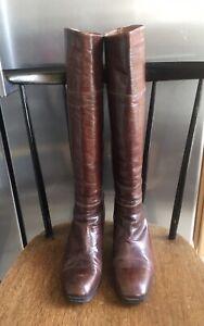 Vintage Italian Made Leather Boots UK Size 6 EU 38.5