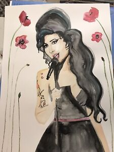 amy winehouse Large Watercolor Art 24 X 18 Inch Original Poster