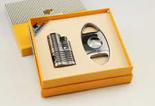 High quality good gift COHIBA Jet Flame Cigar Lighter & Cutter Set w/Gift Box