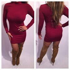 Connie's Burgundy Red Long sleeve Mock Neck Mini Dress Party Dress M