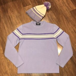 Vtg 70s 80s Ski Sweater Matching Beanie Hat Ossi Apres Ski Mod Lot WOMENS LARGE