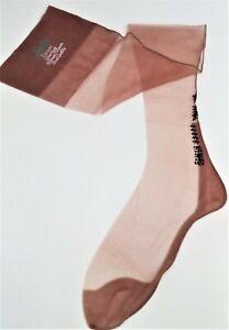 1950'S LADY ORIS FANCY BLACK ANKLE & HEEL FF SEAMED FLAT NYLON STOCKINGS 9.5/31