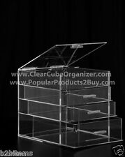 Acrylic Lucite Clear Cube Makeup Organizer The Kardashians Display 3 plus lid