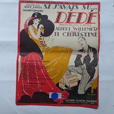Partition Dédé WILLEMEZ Christiné Si j avais su COCEA M. CHEVALIER  R de Valerio