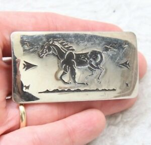 "Chambers Belt Co. Buckle Metal Silver Gray Running Horse Womens Woman 1"" x 2.25"""