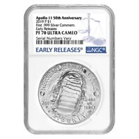2019 P Apollo 11 50th Anniversary Proof Silver Dollar Comm. NGC PF 70 ER