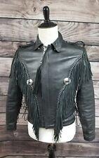 Vintage Men's Black Fringed 1980's Motorcycle Leather Jacket Protech Size 38