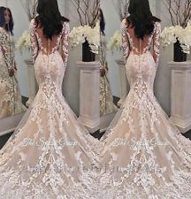 Elegant Lace Appliqued Wedding Dress Sexy Long Sleeve Mermaid Beach Bridal Gowns