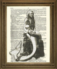 MERMAID MOTHER & BABY PRINT: Vintage Dictionary Page Art, Bedroom Wall Hanging