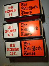 December 1987 New York Times on MICROFILM - 3 reels of film