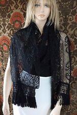 "Vintage Black Hand Made Bobbin Lace Shawl Scarf Wrap Silk Fringe 105"" x 17"""