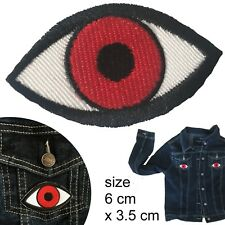 Red eye patch tabby eyes look see visual iron-on embroidery heat iron-on patches