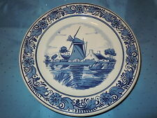 VINTAGE BLAUW DELFTS WALL PLATE BLUE WINDMILL DISH ANTIQUE QUALITY HOLLAND