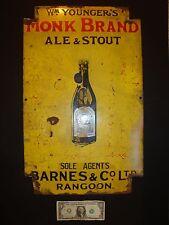 Monk Brand Ale & Stout, Antique Beer Advertising Porcelain Enamel Sign, Rangoon