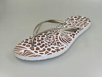 Havaianas Slim ANIMAUX Sandales Blanc bronze léopard Tongs + NOUVEAU + .