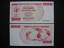 ZIMBABWE  500 Million Dollars 2.5.2008  (P60)  UNC