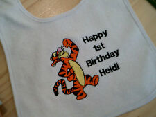 personalize with your childs name tigger happy  birthday  baby bibs