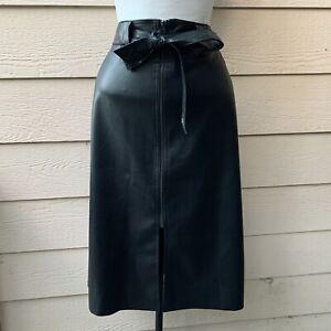 Anthropologie Bailey Marceline Skirt Black Faux Leather Vegan Bow Belt Tie XL