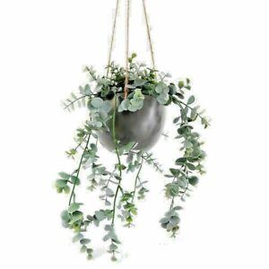 Artificial Eucalyptus Plant 75cm Ceramic Grey Pot Hanging Faux Plant Trailing