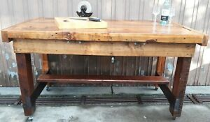 Rustic Vintage Work Bench Industrial Kitchen Island Outdoor Cafe Wine Bar Table.
