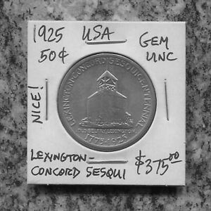 US - FANTASTIC SCARCE LEXINGTON - CONCORD SILVER 50 CENTS, 1926, KM# 157