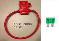 (10) 12 GAUGE ATC FUSE HOLDER With COVER + (10) 30 AMP FUSES IN-LINE 12 GA. USA