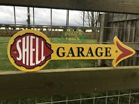 Arrow SHELL GARAGE Oil Cast Iron Yellow Sign Wall Plaque Petrol Garage Workshop