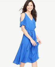 "Ann Taylor Size 10 Cold Shoulder Belted Dress ""Anika Blue"" Royal Blue NWT $149"