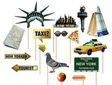 Pack of 16 - New York Photo Stick Props Birthday Photo Booth Paper Party Decor