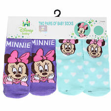 "Licensed Disney - 2 Pairs ""Minnie Mouse"" Baby Socks - 12-18 Mths"