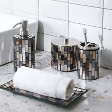 4Pc Black/Gold Mosaic Glass Bathroom Accessory/Accessories Set w Dispenser/Dish