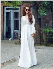 Women's Summer White Boho Long Sleeve Maxi Evening Party Dresses Beach Sundress