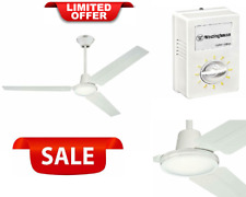 56-Inch Three-Blade Indoor Industrial Ceiling Fan White With White Steel Blades