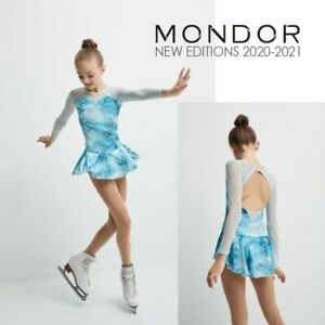 MONDOR Aquamarine Glitter Velvet Mesh Figure Skating Competition Dress NEW