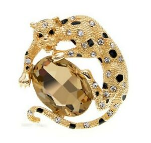 Brooch Pin Panther Golden And Black, Steel and Stone Crystal