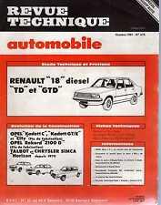 REVUE TECHNIQUE AUTOMOBILE N0415 1981 RENAULT 18 DIESEL TD/GTD OPEL KADETTC/GT/
