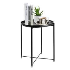 Black Metal Round End Side Accent Tea Coffee Table Bedroom Living Room Bedroom