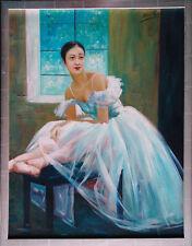 Ballett-Tänzerin am Fenster Ölmalerei Leinwand 60 x 50 cm Henri Gautier *1955