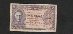 1 CENT FINE BANKNOTE FROM BRITISH MALAYA 1941 PICK-6