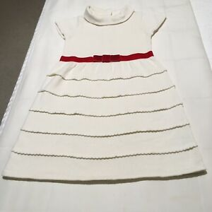 NEW JANIE AND JACK GIRLS DRESS SZ 5 IVORY WITH RED BOW BAND
