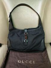 Gucci Jackie O Hobo Bag Shoulder Nylon Black Leather Purse 001-3306 Piston VTG