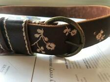 Mens Brown Leather Embroidered Belt