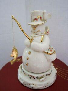 LENOX CHINA JEWELS MUSICAL FISHING SNOWMAN. New in Box. HTF. Porcelain