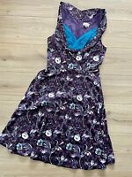 LINDY BOP Floral Purple Blue Fit Flare Dress 12  Retro OPHELIA 50s style Sheen